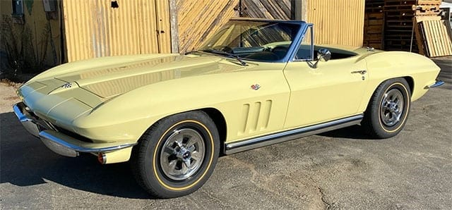 1965 goldwood yellow corvette