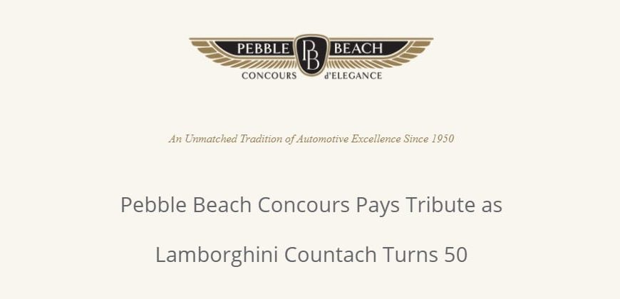 Pebble Beach Concours Pays Tribute to Lamborghini Countach