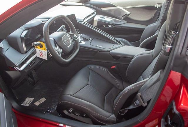 2021 red c8 corvette convertible interior 1