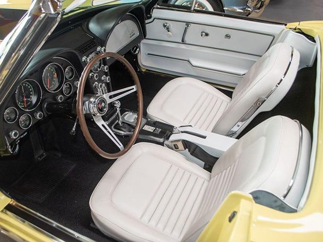 1967 sunfire yellow corvette l68 convertible interior